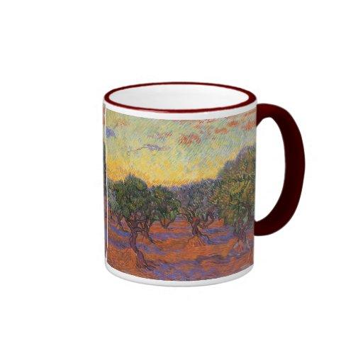 Olive Grove, Orange Sky by Vincent van Gogh Coffee Mugs