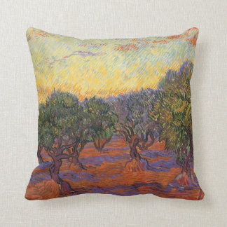Olive Grove, Orange Sky by Vincent van Gogh Pillow