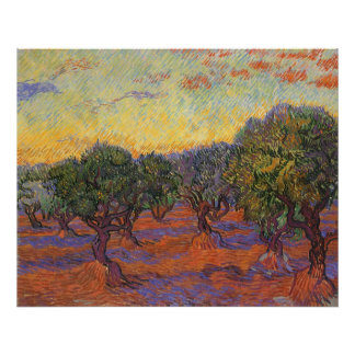 Olive Grove, Orange Sky by Vincent van Gogh Posters