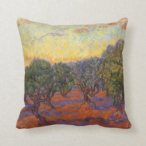 Olive Grove, Orange Sky by Vincent van Gogh Throw Pillow