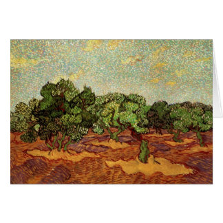 Olive Grove Pale Blue Sky by Vincent van Gogh Card