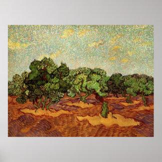 Olive Grove Pale Blue Sky by Vincent van Gogh Poster