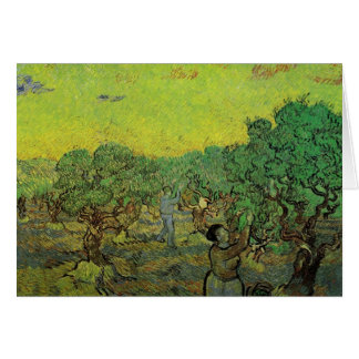 Olive Grove with Picking Figures by van Gogh Stationery Note Card