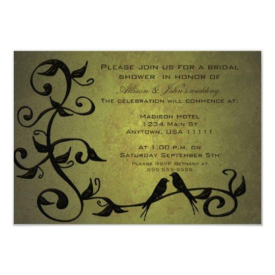 Olive Grunge Vines Bridal Shower Invitation