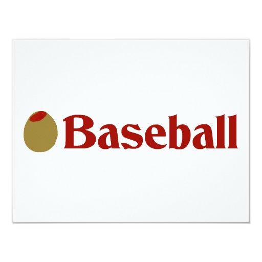 "Olive (I Love) Baseball 4.25"" X 5.5"" Invitation Card"