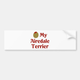 Olive I Love My Airedale Terrier Bumper Sticker