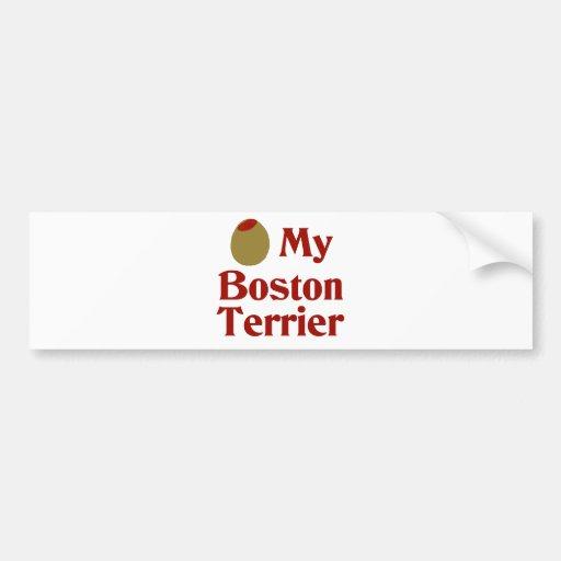 Olive (I Love) My Boston Terrier Car Bumper Sticker