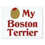 "Olive (I Love) My Boston Terrier 4.25"" X 5.5"" Invitation Card"