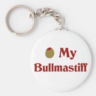 Olive (I Love) My Bullmastiff Basic Round Button Keychain