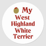 Olive (I Love) My West Highland White Terrier Round Stickers