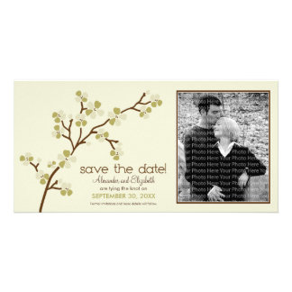Olive/Ivory Cherry Blossom Save the Date Photocard Card