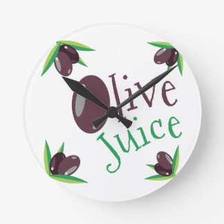 Olive Juice Round Clock