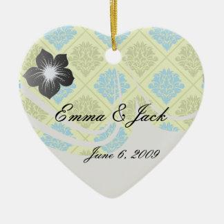 olive kiwi green blue diamond damask ceramic ornament