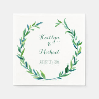 Olive Leaf Laurel Wreath Simple Modern Reception Paper Napkin