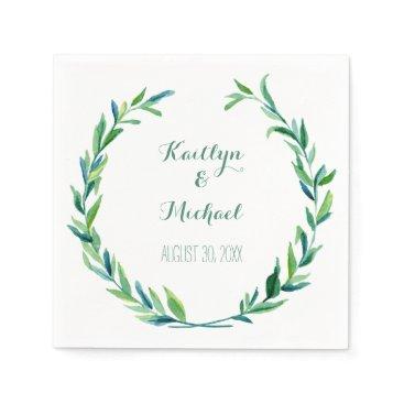 luxuryweddings Olive Leaf Laurel Wreath Simple Modern Reception Paper Napkin