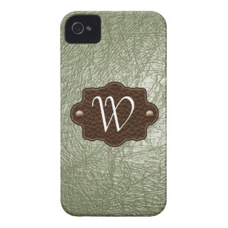 Olive Leather Look monogrammed iPhone 4/4s iPhone 4 Case