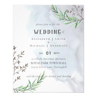 Olive Leaves Dusty Blue Wedding Flyer
