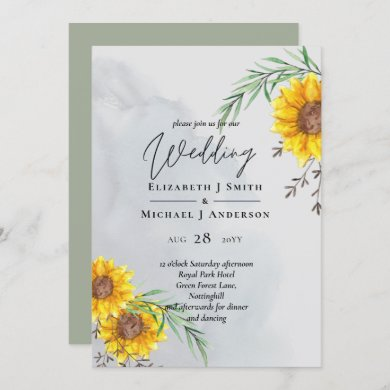 Olive Leaves Sunflowers Rustic Wedding