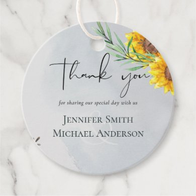 Olive Leaves Sunflowers Rustic Wedding Favor Tags