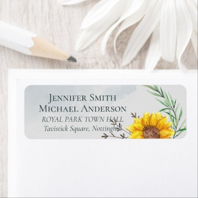 Olive Leaves Sunflowers Rustic Wedding Label