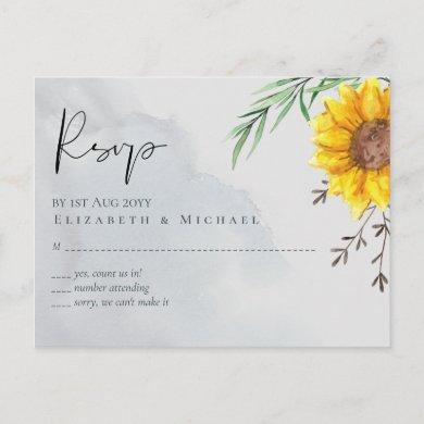 Olive Leaves Sunflowers Rustic Wedding Postcard