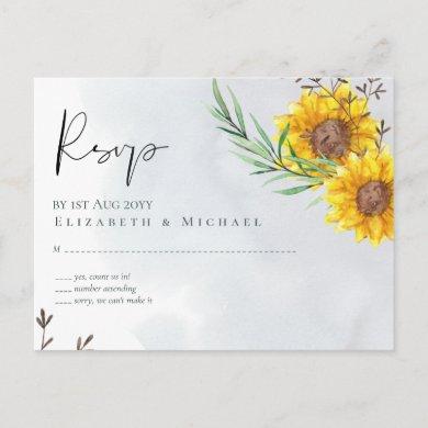 Olive Leaves Sunflowers Rustic Wedding rsvp Postcard