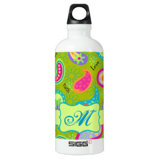 Olive Lime Green Modern Paisley Pattern Monogram Aluminum Water Bottle