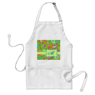 Olive Lime Green Modern Paisley Pattern Monogram Apron