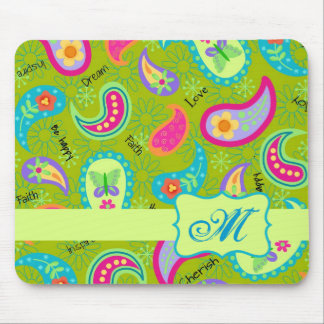 Olive Lime Green Modern Paisley Pattern Monogram Mouse Pad