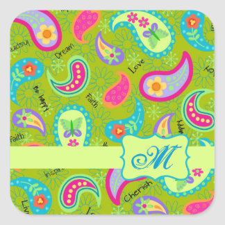 Olive Lime Green Modern Paisley Pattern Monogram Square Sticker