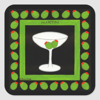 Olive Martini Retro Drink Art Green and Black Square Sticker