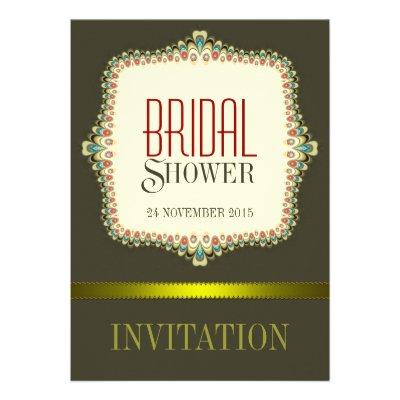 Olive Modern Vintage Bridal Shower Invitation