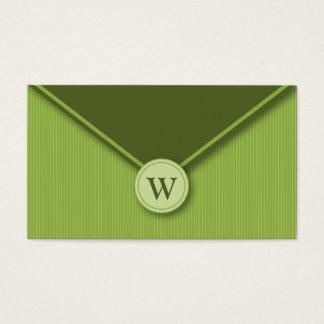 Olive Monogram Elegant Envelope Business Cards