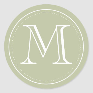 Olive Monogram Envelope Seal by Origami Prints Classic Round Sticker