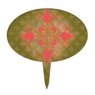 olive moss pink ornament floral background cake topper