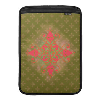 olive moss pink ornament floral background MacBook sleeve