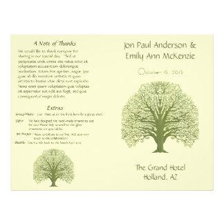 Olive Oak Wood Grain Tree Wedding Program