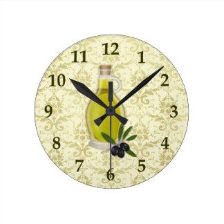 Olive Oil Bottle and Damask Pattern Round Wallclock