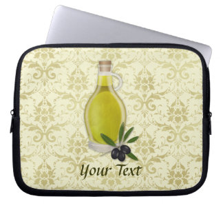 Olive Oil Bottle and Damask Pattern Computer Sleeves