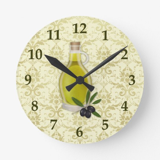 Olive Oil Bottle and Damask Pattern Round Clock