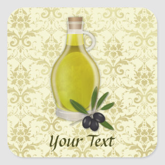 Olive Oil Bottle and Damask Pattern Square Sticker