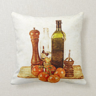 Olive oil bottle and tomatoes on cutting board pillow