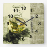 Olive oil bottle cooking still life square wall clocks