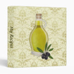 Olive Oil Bottle with Damask Pattern Binders
