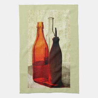 olive oil bottles kitchen towel