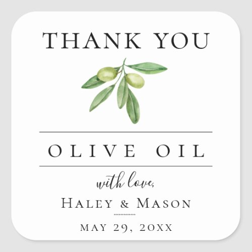 Olive Oil Favor Thank You Square Sticker