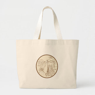 Olive Oil Jar Cheese Tuscan Countryside Etching Large Tote Bag