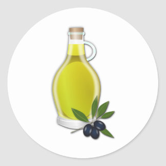 Olive Oil Round Stickers