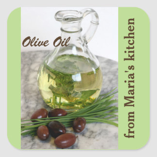 Olive oil with olives square sticker