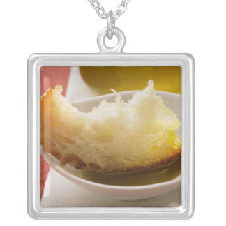 Olive oil with white bread silver plated necklace